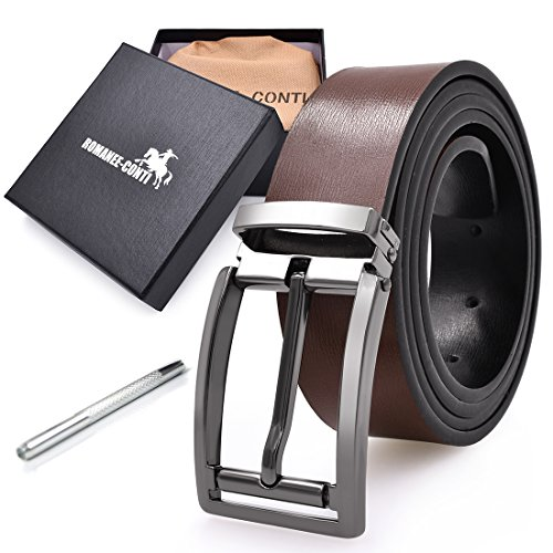 [ロマネ・コンティ] ベルト メンズ 革 ビジネス カジュアル 本革 レザー ロング リバーシブル サイズ調整可能 おしゃれ 紳士 バックル ファション ブランド プレゼント 125cm