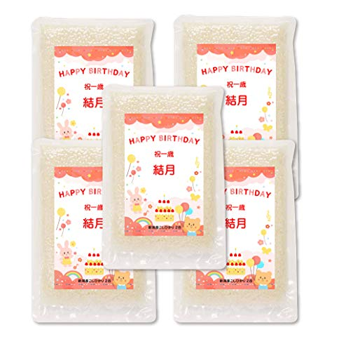 一升 米 1 歳 2合*5個 一升餅の代わり 新潟産コシヒカリ (お祝い赤)