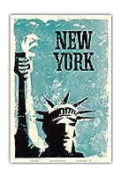 ニューヨーク - 自由の女神 - ビンテージな世界旅行のポスター c.1959 - アートポスター - 33cm x 48cm