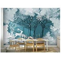 壁のカスタム壁紙3 d壁画壁紙、森林景観、白い雲、テレビ、ソファ、壁紙の家の装飾、絵画 280cm (W) x 180cm (H) (9'2'' x6'10'') ft
