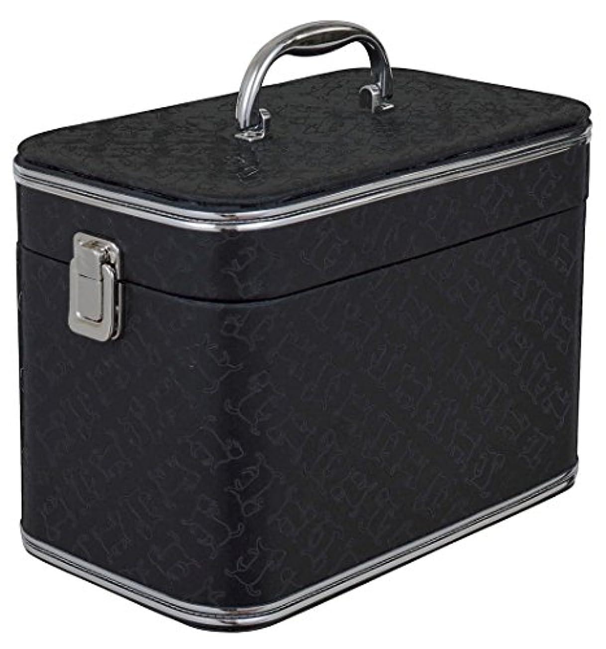 銀行懐疑的肥沃な[ディア キャッツ] 猫型押し柄 バニティケース 大 (ブラック) G-5561BK