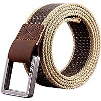 Phoenix Wonder Trendy Mens Trouser Belt Canvas Belts Bales Catch Military-Style Brown/Khaki