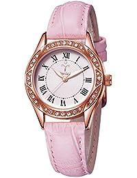 レディース腕時計ピンクレザーストラップ - YOSIMIクォーツレッドストラップウォッチローズゴールドホワイトクリスタルアナログ防水腕時計正規女性DIY交換ストラップ
