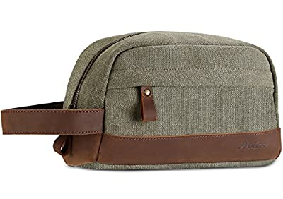 ProCase Travel Toiletry Bag, Canvas Genuine Leather Cosmetic Organizer Makeup Bag Shaving Dopp Kit