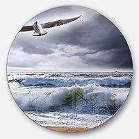 DesignArt mt10428 C23 Seagull Over Stormy波モダンビーチ円壁アートディスク、23