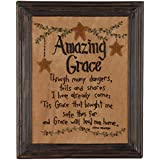 The Country House Collection Amazing Grace Stitchery Embroidered Style 13.5 x 11 Wood Framed Wall Sign Plaque