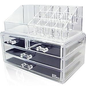 ナイルコープ アクリル ジュエリー&コスメティック ディスプレイ ボックス 2ピースセット (化粧品・アクセサリーボックス) NILECORP Acrylic Jewelry & Cosmetic Storage Display Boxes Two Pieces Set (並行輸入品)