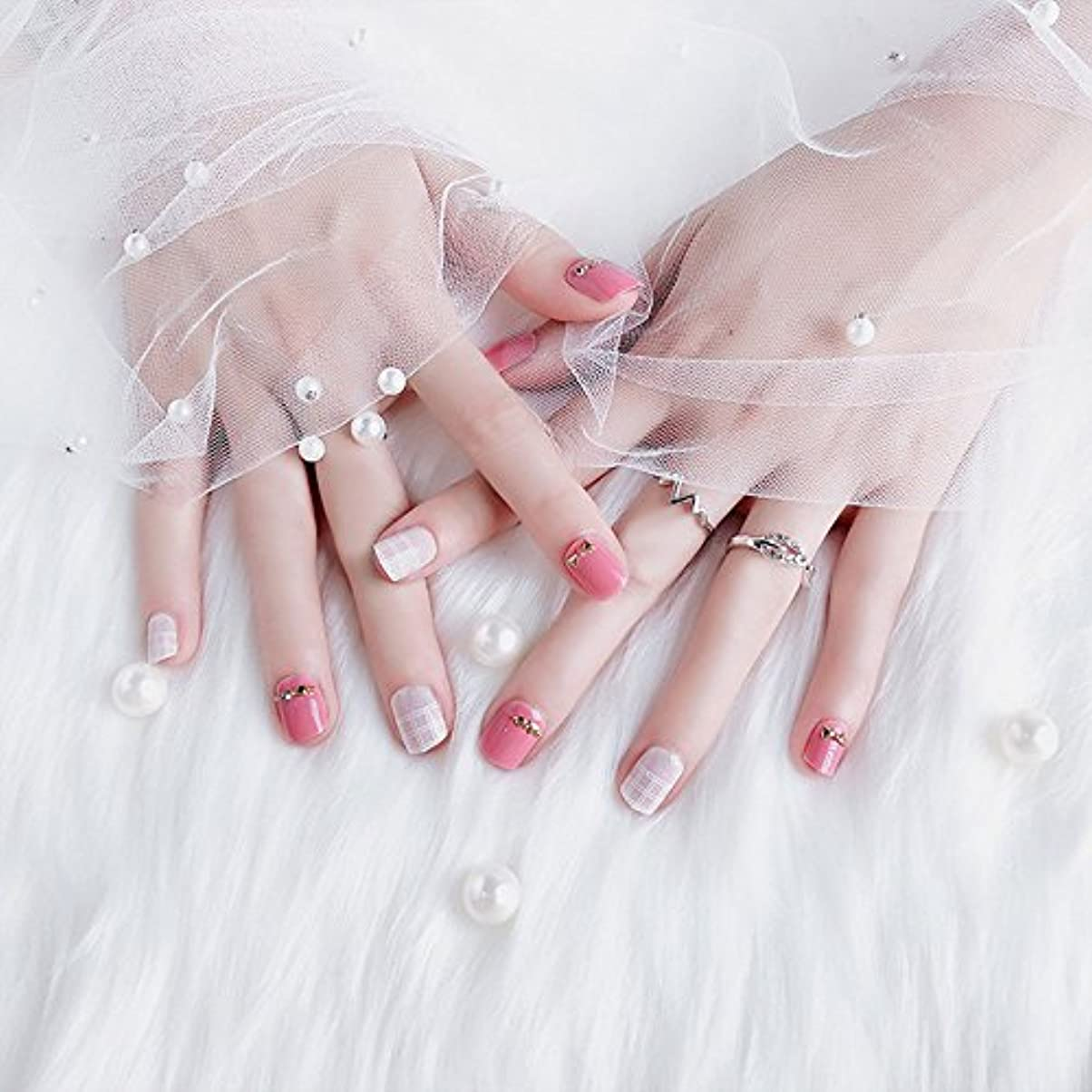グラム高層ビルプロポーショナルおしゃれなネイルチップ 短いさネイルチップ 複数のスタイル 24枚入 結婚式、パーティー、二次会などに ネイルアート 手作りネイルチップ 両面接着テープ付き (ピンク)