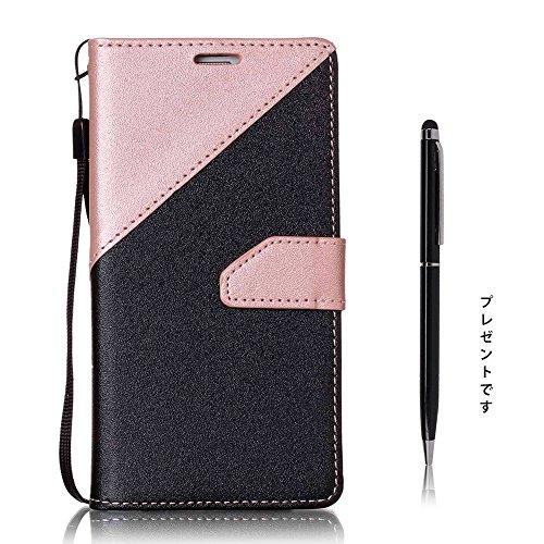 SpiritSun Sumsung Galaxy S5 ケース サムスン ギャラクシー SC-04F SCL23 カバー 二色合わせシリーズ ツートンカラー スマホカバー ビジネス 横開き 手帳型 ビジネス 横開き 財布型 高級PUレザー カード収納ホルダー スタンド機能 軽薄型 柔らかな材質 シンプル デザイン タッチペン贈り ピンク