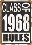 白い桜雑貨屋 ブリキ 看板 Class of 1968 Rules アメリカン 看板 おしゃれ 雑貨 通販 居間、寝室、台所、バー バスルーム 壁飾り20x30cm