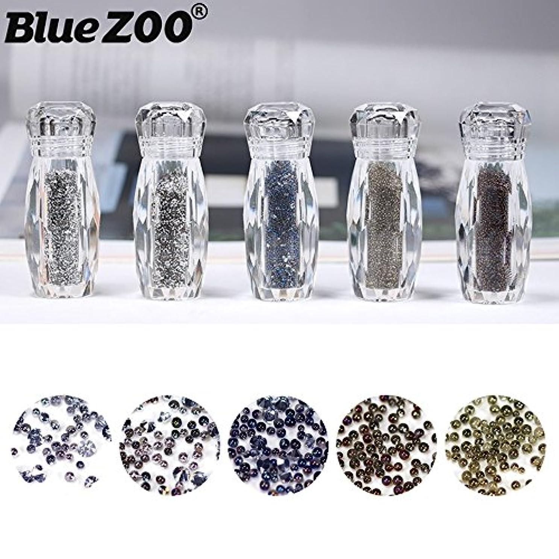 争い保持教えてBlueZOO (ブルーズー) メタルカラー5色セット カラフル マジックエルフビーズ ネイルアクセサリー 混合ネイルアート クリスタルサンド マイクロ カット ダイヤモンド