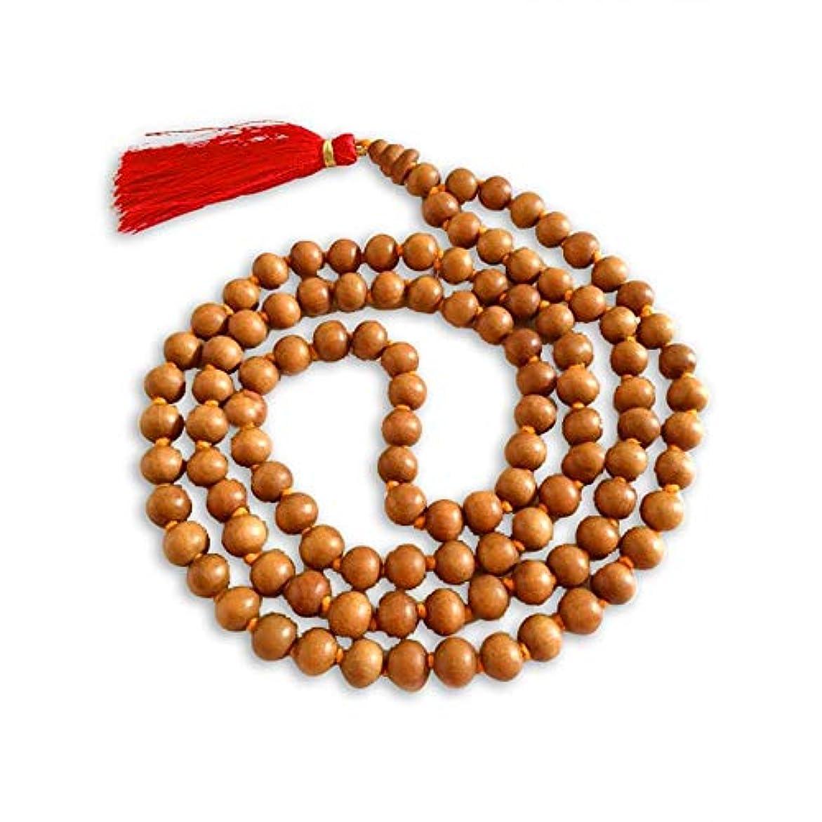 吐き出す姓人類Aadit Crreationサンダルウッドの香り付きジャップマーラ 108+1 瞑想用ビーズ.