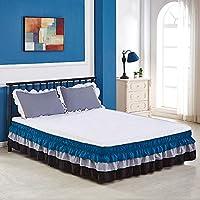 TENCMGベッドスカート - 3色の3層 - ベッド表面なし低刺激性取り外し可能ベッドスカート - エラスティックバンドベッドスカート40cmドロップ,D,King