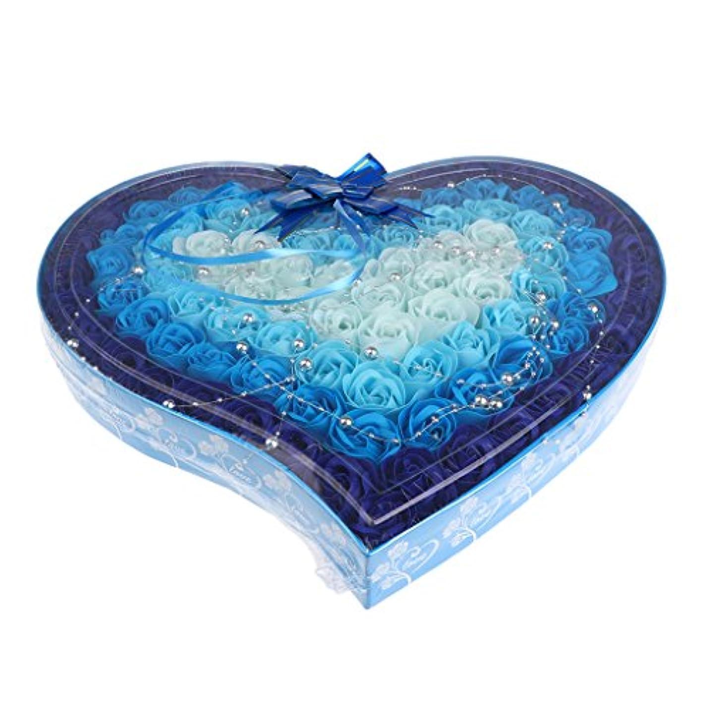 羊飼いラバ折り目石鹸の花 造花 ソープフラワー 心の形 ギフトボックス 母の日 バレンタイン プレゼント 全4色選べる - 青