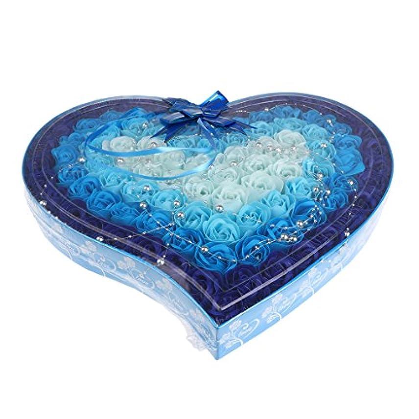 宿命チラチラするアクション石鹸の花 造花 ソープフラワー 心の形 ギフトボックス 母の日 バレンタイン プレゼント 全4色選べる - 青