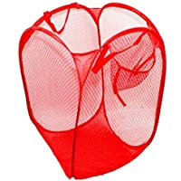 SunniMix 洗濯バッグ ランドリー バスケット ホーム 折り畳み式 衣類 メッシュ ストレージ 実用 全4色 - 赤