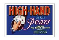 High-Hand ブランド 洋ナシ - ビンテージなフルーツの木箱のラベル c.1930s - アートポスター - 76cm x 112cm