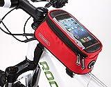 eCiclico(エーチクリコ) 自転車 フレームバッグ 5.5インチ スマホ ケース 小物収納 防水 全5色 (レッド)