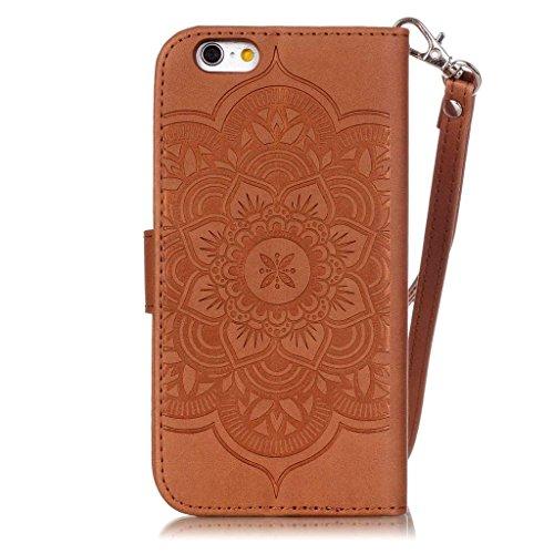 813743848f UNEXTATI iPhone 6 / iPhone 6s ケース ダイヤモンド 手帳型ケース カバー カード収納 ストラップ 付き Apple  iPhone6 / iPhone6s 用 Case Cover (ブラウン)