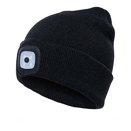 ニット帽 ニットキャップ LEDライト付き 帽子とヘッドライ...
