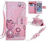 Zoeking iPhone5/iPhone5s 対応 可愛い 猫 かわいい ねこ マグネット式手帳型ケース 少女風 横開き PUレザー 手帳型カバー ストラップ付き スタンド機能付き カード収納 ポケットホルダー付き イフォン5 人気 女性 おしゃれ 薄型ケース (iphone5/5s/5se, ピンクの猫)