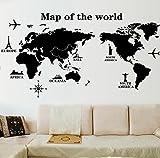 Frimateland 取り外し可能な 世界地図 バス ルーム キッチン ベッドルーム ダイニング リビングルーム ミラー オフィス 寮 ホーム DIY モダンアート ウォールステッカー ポスター