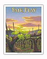 フェア・プレイ・ワイナリー - エル・ドラド郡 - シエラ・フットヒルズAVAブドウ園 - カリフォルニアワインカントリーアート によって作成された カーン・エリクソン - アートポスター - 28cm x 36cm