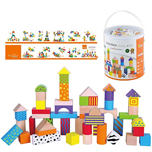 Fun Factory Coloured Wooden Blocks 50pc in Tub Puzzle