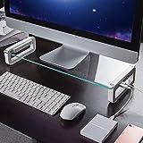 Dreamsoule モニター台 机上台 【4 USB 3.0 ポートHub】 急速充電 5Gbps 高速データ転送 強化ガラス製 デスクボード ノートパソコンスタンド モニタースタンド キーボードトレイ USBケーブル付き (ワイト)