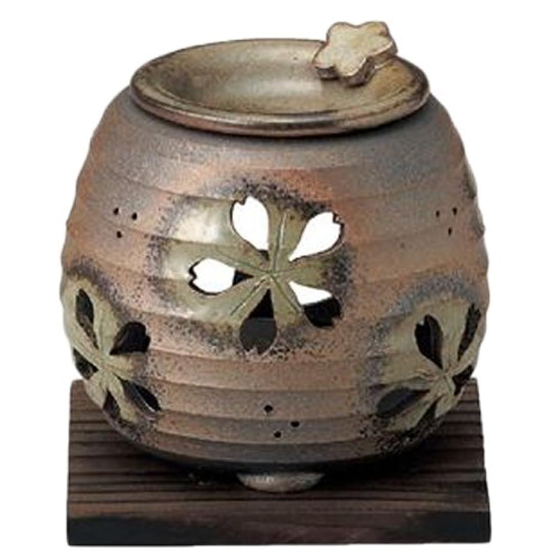 インポートカリキュラム連合常滑焼6-249石龍 緑灰釉桜透かし茶香炉 AM-T1205