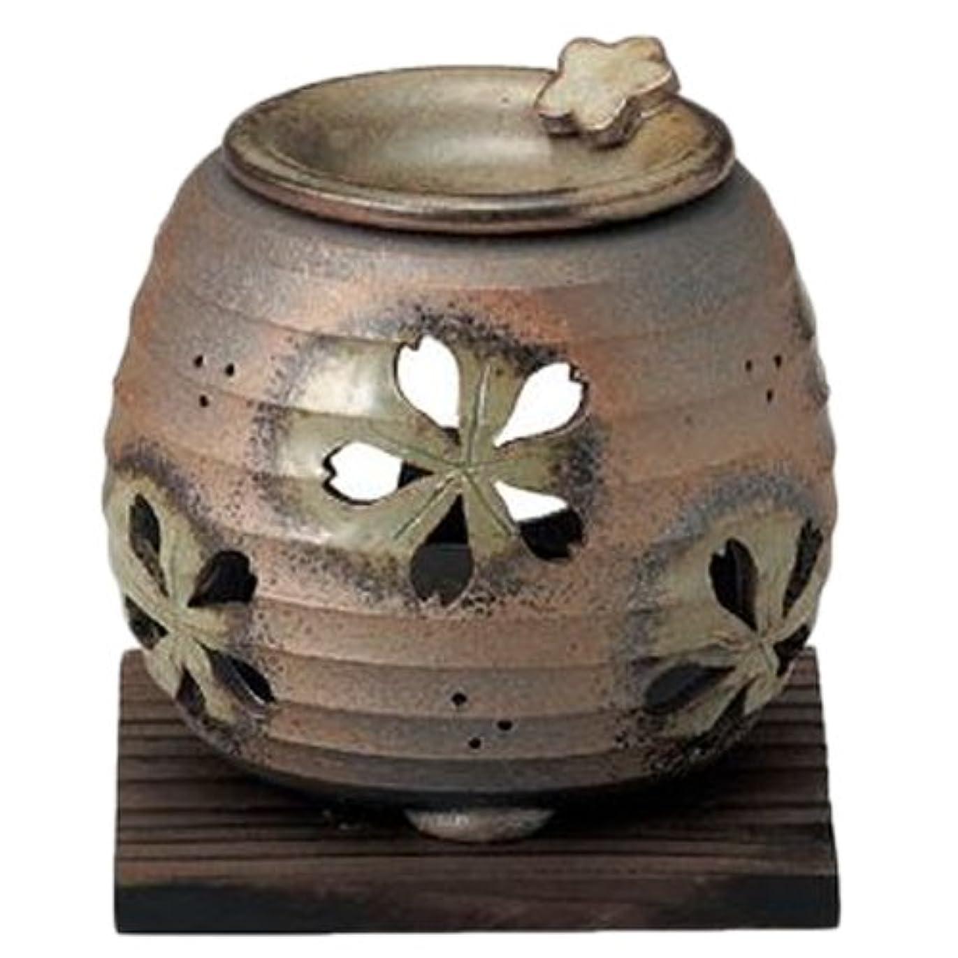 団結脈拍金銭的常滑焼6-249石龍 緑灰釉桜透かし茶香炉 AM-T1205
