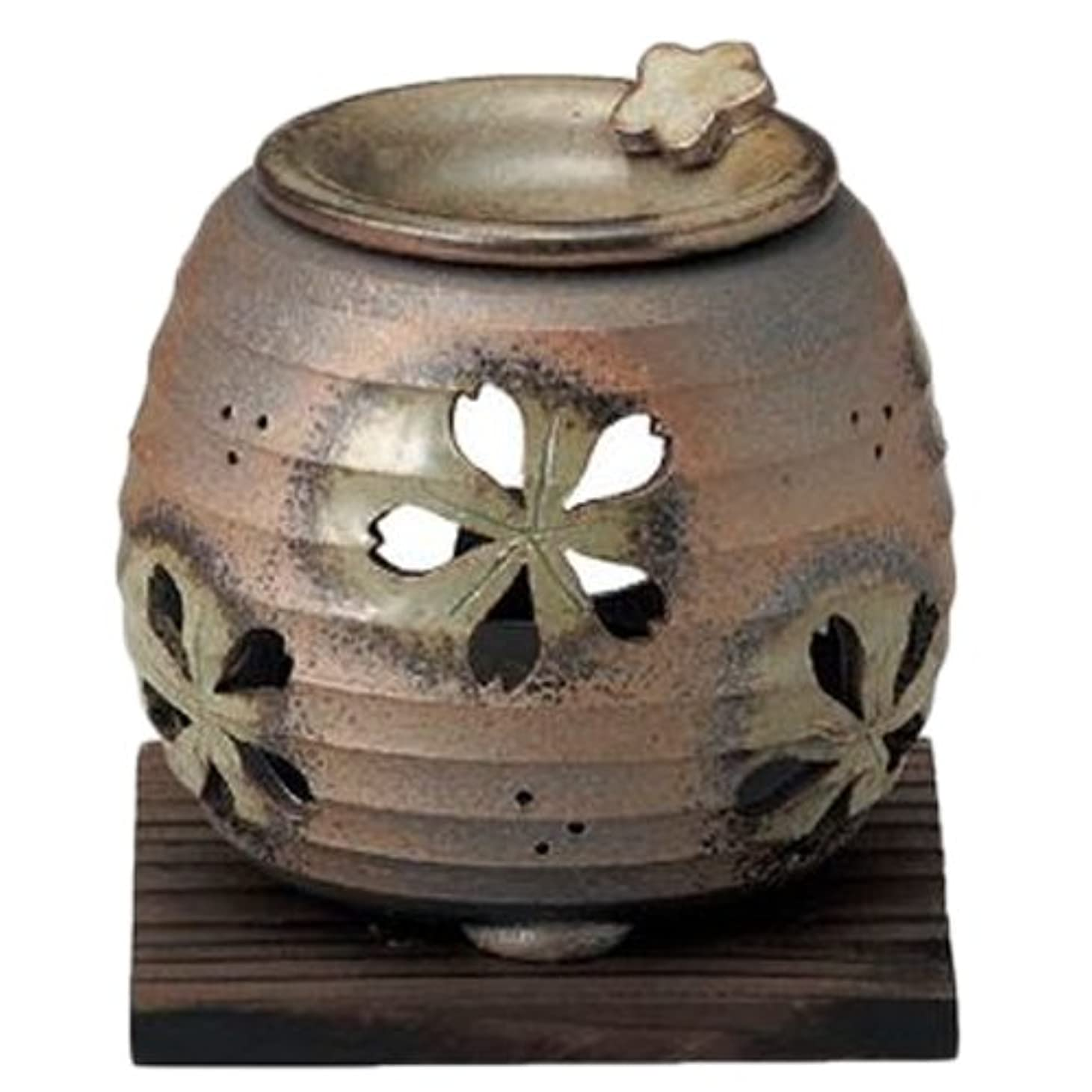 家庭冗談でスキッパー常滑焼6-249石龍 緑灰釉桜透かし茶香炉 AM-T1205