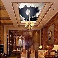 Wuyyii フレスコ画の壁紙 - 3Dホームデコレーション写真の背景Moon Sky Spaceロビーレストランリビングルームアート壁画-350X250Cm