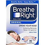 Breathe Right Breathe Right Large Nasal Congestion and Snoring Aid Strips, Original 30s, Original Large30 count
