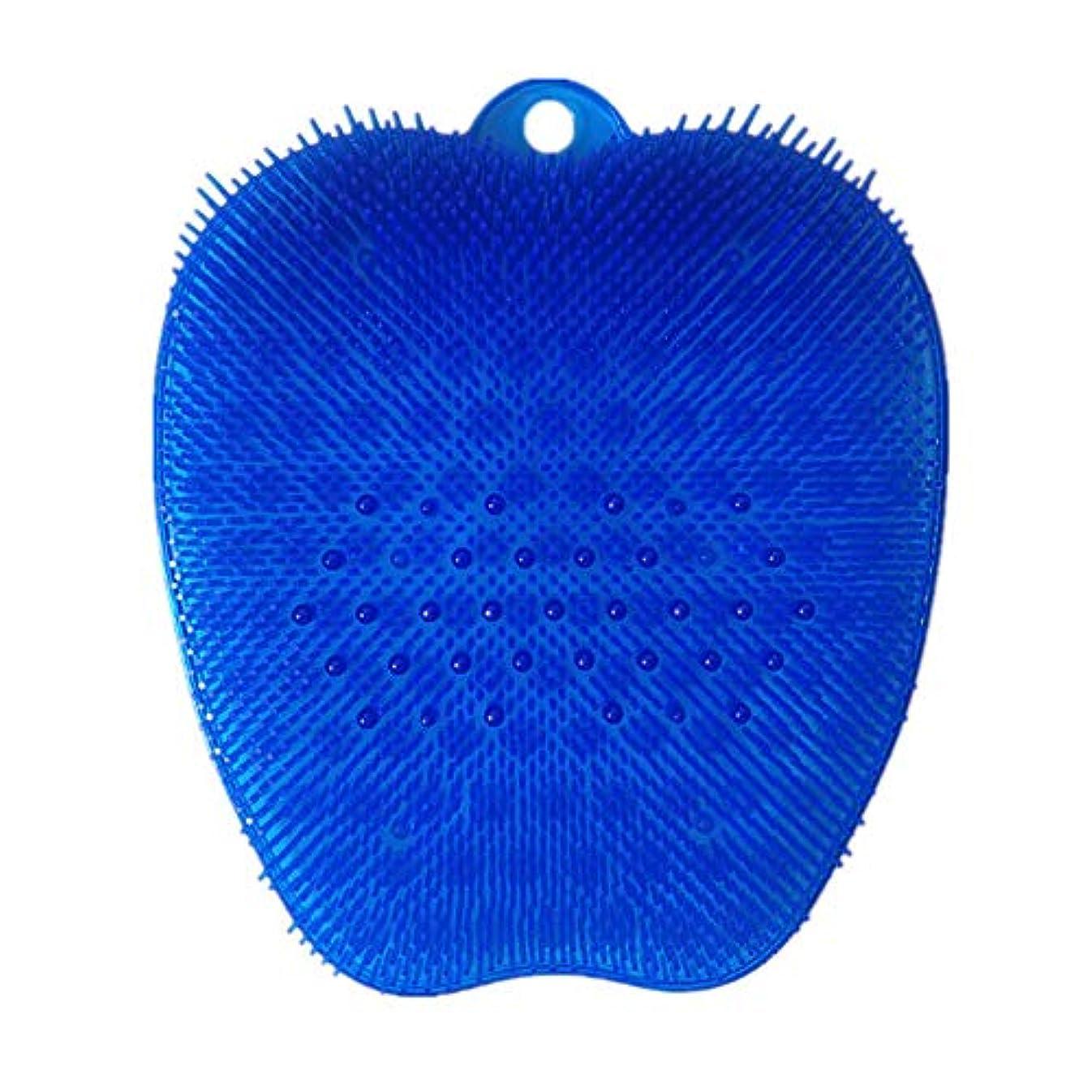 感嘆符横たわる認識足洗いブラシ 滑らない吸盤付き ブルー フットケア フットブラシ 角質ケアブラシ お風呂で使える