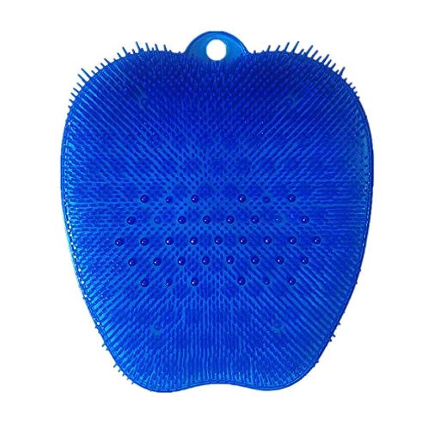 仕方つぶす勝者足洗いブラシ 滑らない吸盤付き ブルー フットケア フットブラシ 角質ケアブラシ お風呂で使える