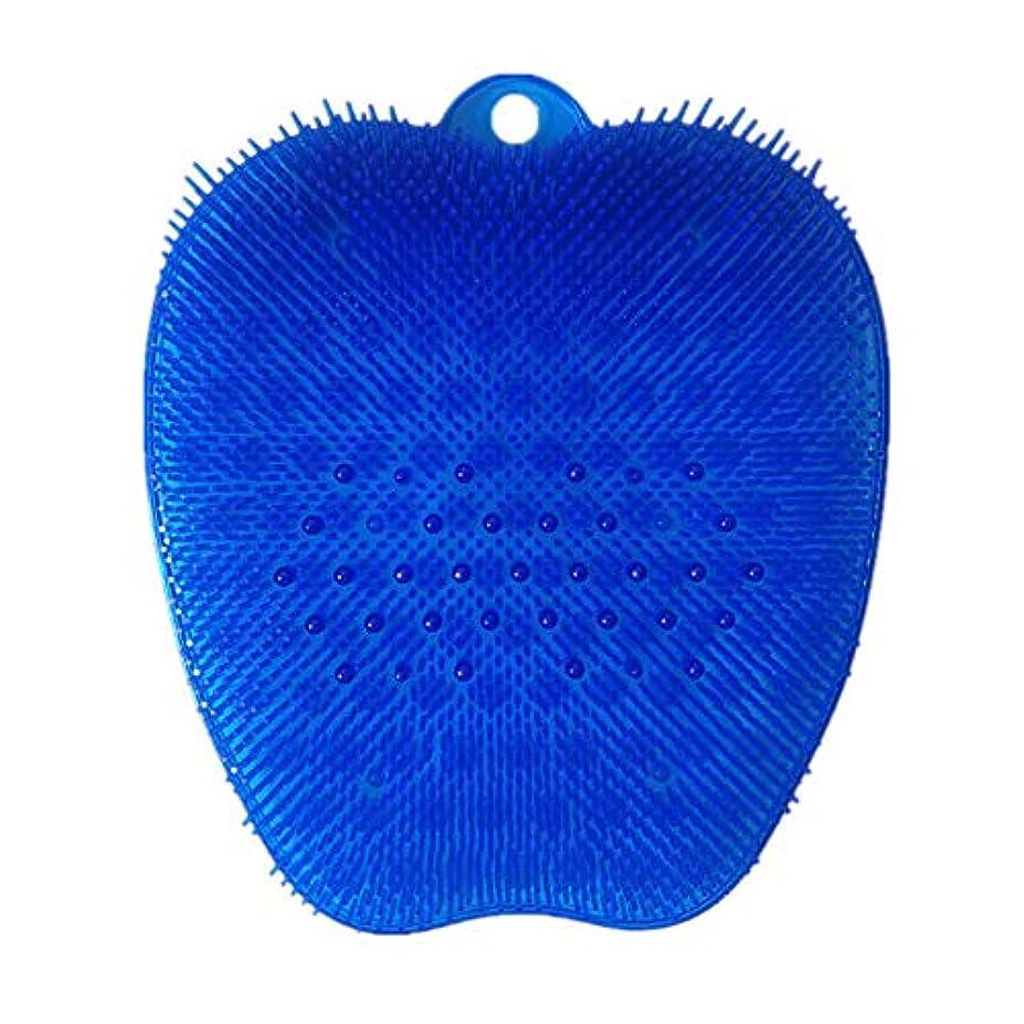 アルコーブ天窓是正足洗いブラシ 滑らない吸盤付き ブルー フットケア フットブラシ 角質ケアブラシ お風呂で使える