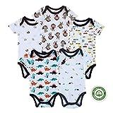 (マザーネスト) Mother Nest カバーオール 新生児から ロンパース 赤ちゃん 綿100 半袖 Baby ボディースーツ 5枚セット ベビー服 Bodysuit BBT001-3M