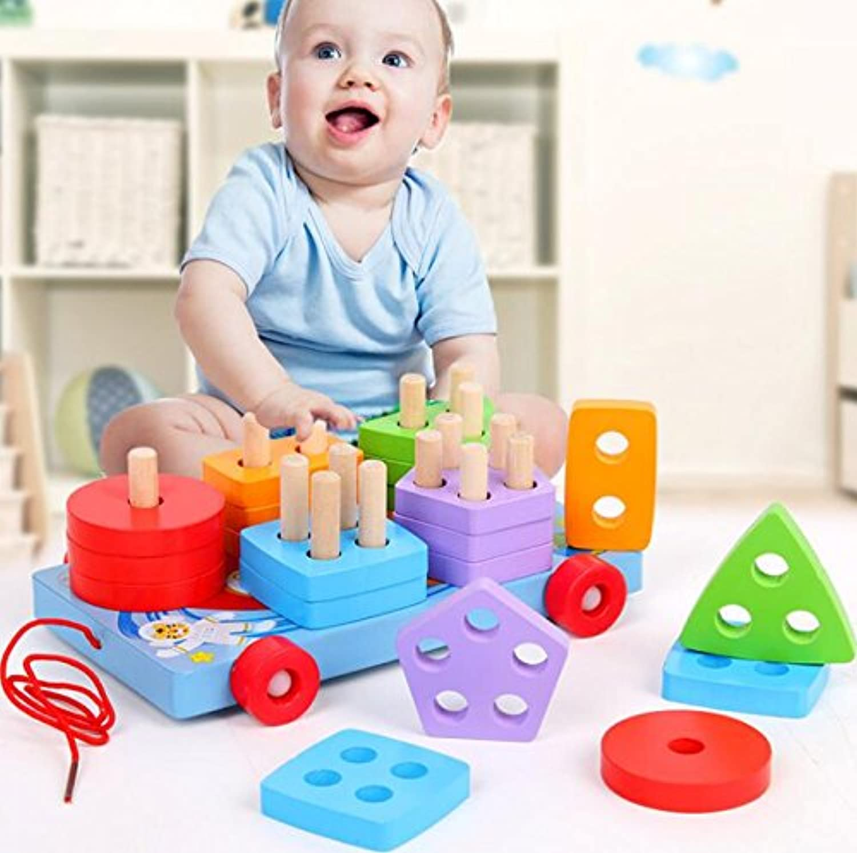 HuaQingPiJu-JP 子供のための木製の形状ソーター幾何学的認知玩具教育ゲーム