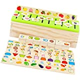 Prettyia Lot of 80 Pieces Montessori Knowledge Classification Box Puzzle Learning Wooden Educational Toys