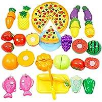 [千楽] 24個セットクッキングトイ キッチンおもちゃ 切れるおままごと 知育玩具 野菜&果物 ギフト 包丁とまな板