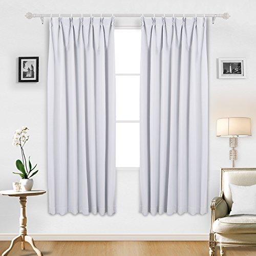 Deconovo 遮光 ドレープカーテン 全16色 UVカット 断熱 昼夜目隠し 2枚組 幅100cm丈200cm ホワイト