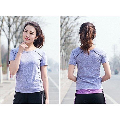 (リール) LIIL スポーツ トレーニング ヨガ ウェア レディース 5色 上下 パンツ 半袖 セット アップ (L, パープル)