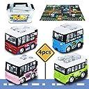 Tagitary ミニカーおもちゃ バス仕様 子供用おもちゃ 定番玩具 子供飛びつくおもちゃ マップ 収納ボックス付き ぜんまい式 4個セット コレクション キッズおもちゃ プレゼント