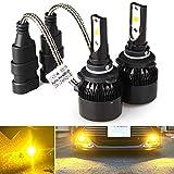 車用LEDヘッドライト HB3 9005 ハイビーム 一体型 DC12V-ポーペ(POOPEE) COBチップ 30W 3200LM 高輝度 ledフォグランプ 両面発光 黄色 3000Kイエロー
