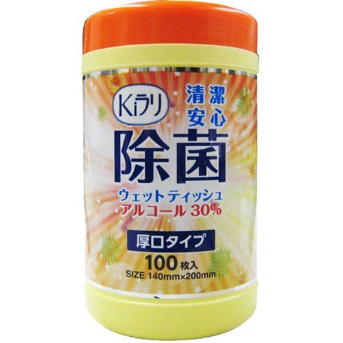 除菌ウェットティッシュ アルコール30% 厚口タイプ(100枚入)
