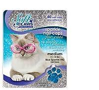 Feline Soft Claw Nail Caps, Medium, Blue Sparkle by Soft Claws
