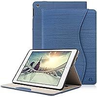 iPad 2018/2017 ケース DINGRICH iPad 9.7 ケース (第5世代 第6世代通用) 高品質PUレザー ペンホルダー ポケット付き 収納可能 カバー 手帳型 スタンド オートスリープ機能付き New iPad 9.7インチ専用 ケース(ダークブルー)