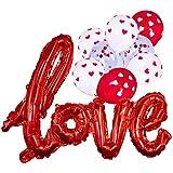 バレンタインデー ルームデコレーションキット パーティー小道具 装飾 ラブバルーン レッド ホワイト ハート 紙吹雪 バルーン