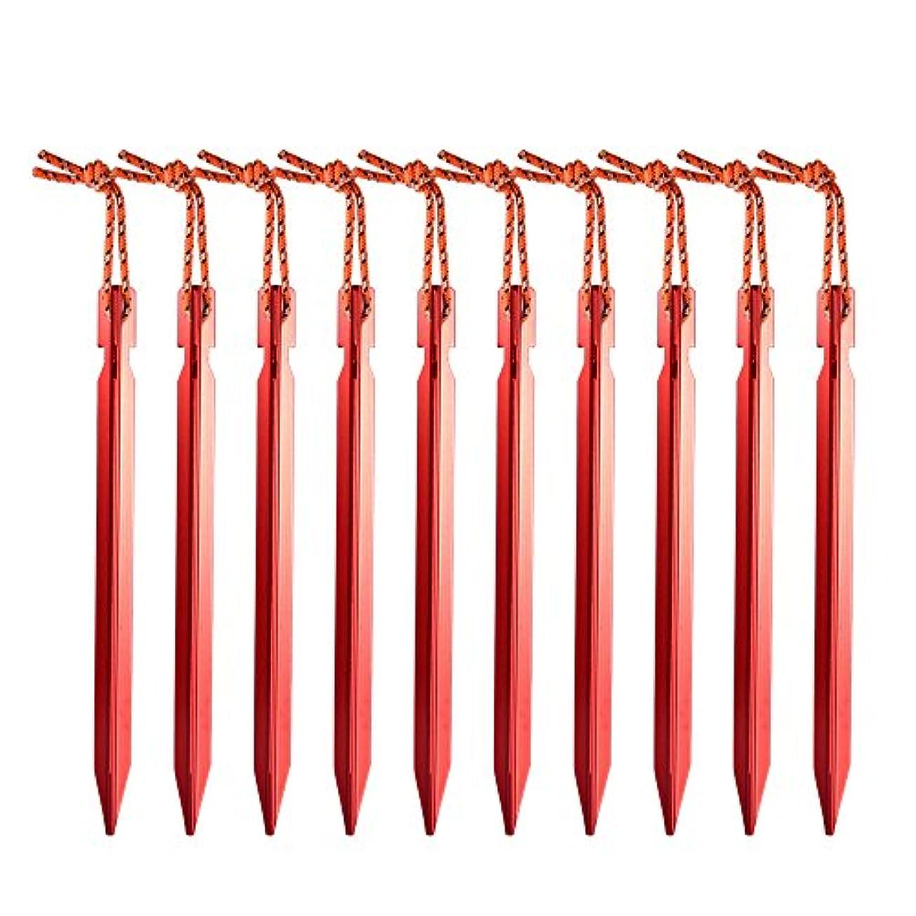 判決気配りのある強風SNOWINSPRING 10本のテントペグ ロープの屋外テントと18センチメートルアルミテントのステーク釘ペグ テントアクセサリー 機器(赤色)